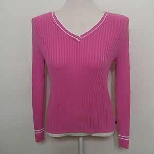 Polo Ralph Lauren pink ribbed v-neck sweater